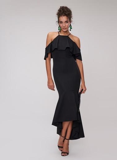 People By Fabrika Volanlı Abiye Elbise Siyah
